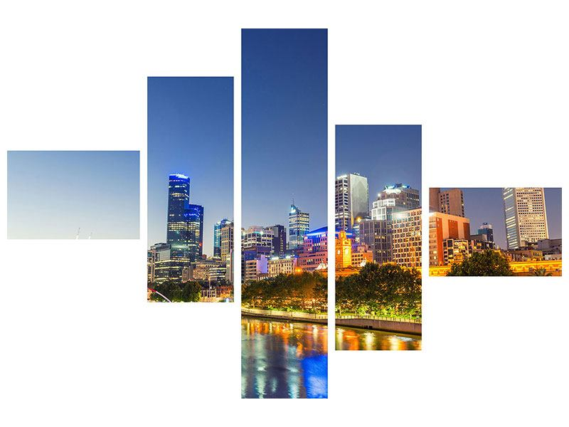 Leinwandbild 5-teilig modern Skyline Sydney in der Abenddämmerung