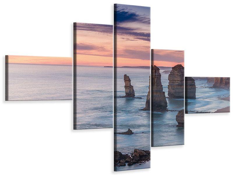 Leinwandbild 5-teilig modern Felsen in der Brandung