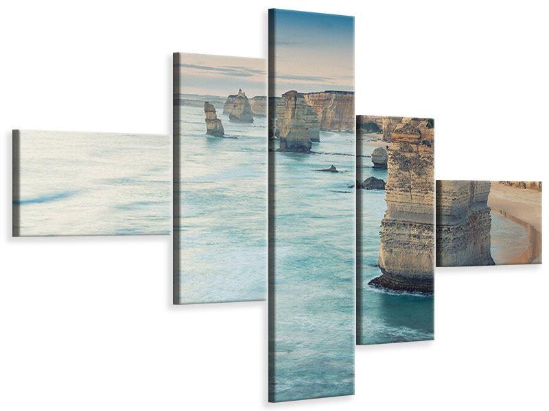 Leinwandbild 5-teilig modern Felsklippen