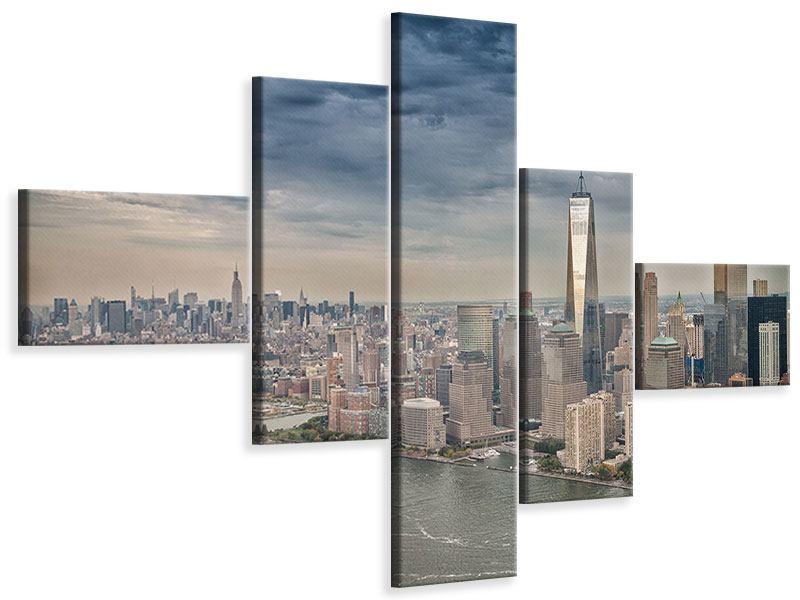 Leinwandbild 5-teilig modern Skyline Manhattan