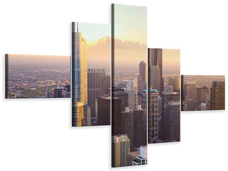 Leinwandbild 5-teilig modern Skyline Chicago
