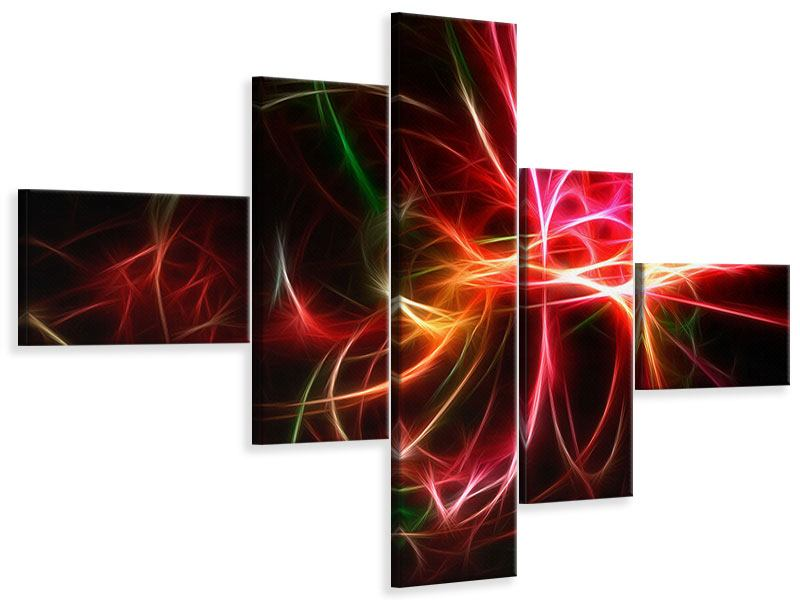 Leinwandbild 5-teilig modern Fraktales Lichtspektakel