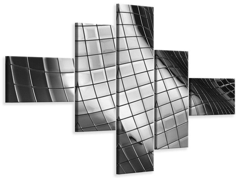 Leinwandbild 5-teilig modern Abstrakter Stahl