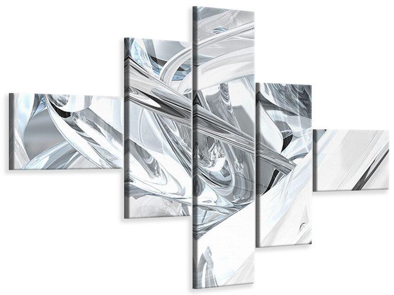 Leinwandbild 5-teilig modern Abstrakte Glasbahnen