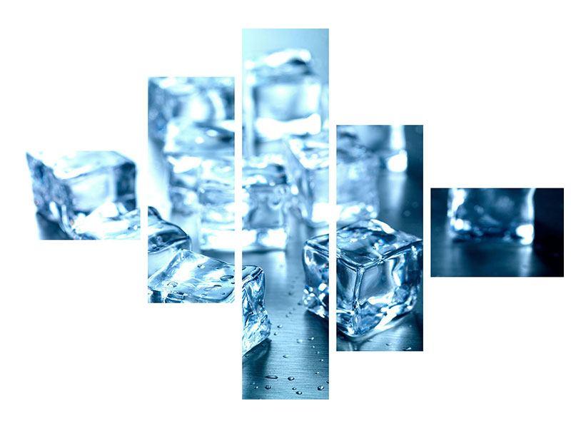 Leinwandbild 5-teilig modern Viele Eiswürfel