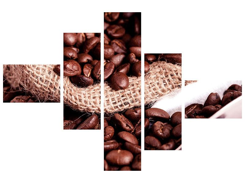 Leinwandbild 5-teilig modern XXL Kaffeebohnen
