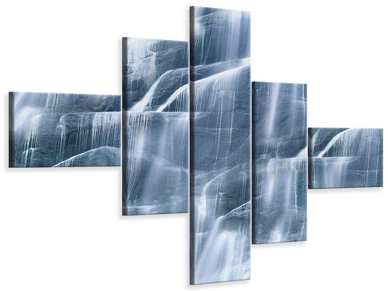 Leinwandbild 5-teilig modern Grossartiger Wasserfall