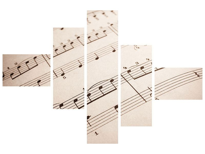 Leinwandbild 5-teilig modern Das Notenblatt