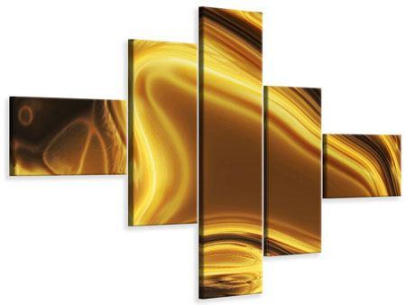 Leinwandbild 5-teilig modern Abstrakt Flüssiges Gold
