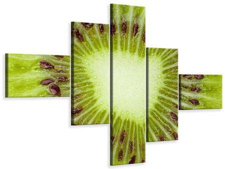 Leinwandbild 5-teilig modern Close Up Kiwi