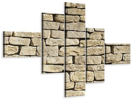 Leinwandbild 5-teilig modern Alte Mauer