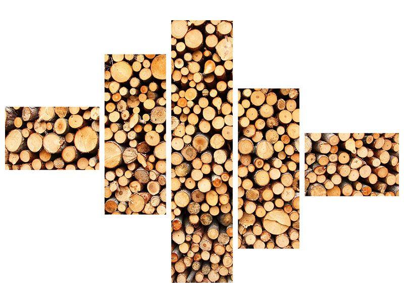 Leinwandbild 5-teilig modern Holzstämme