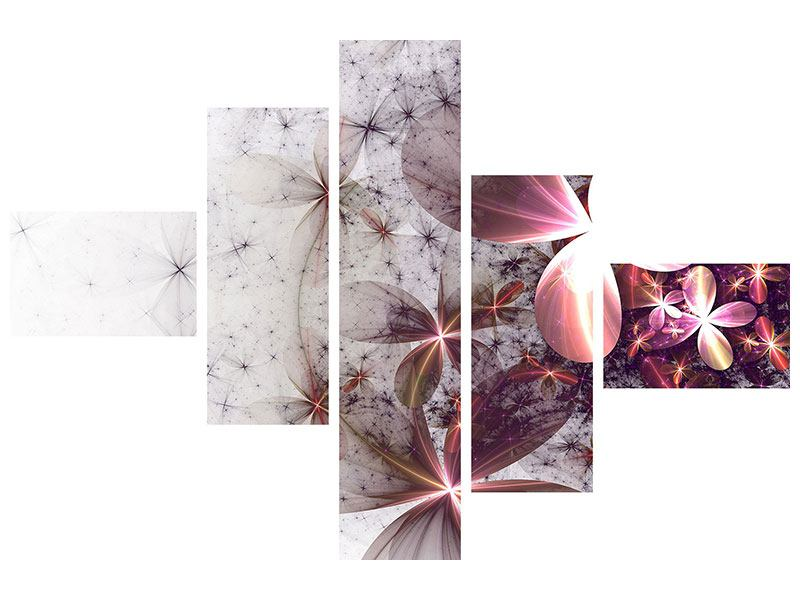 Leinwandbild 5-teilig modern Abstrakte Blumen
