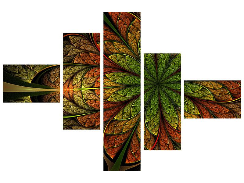 Leinwandbild 5-teilig modern Abstraktes Blumenmuster