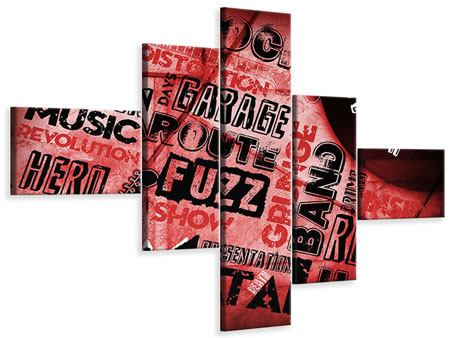 Leinwandbild 5-teilig modern Writings Music Grunge