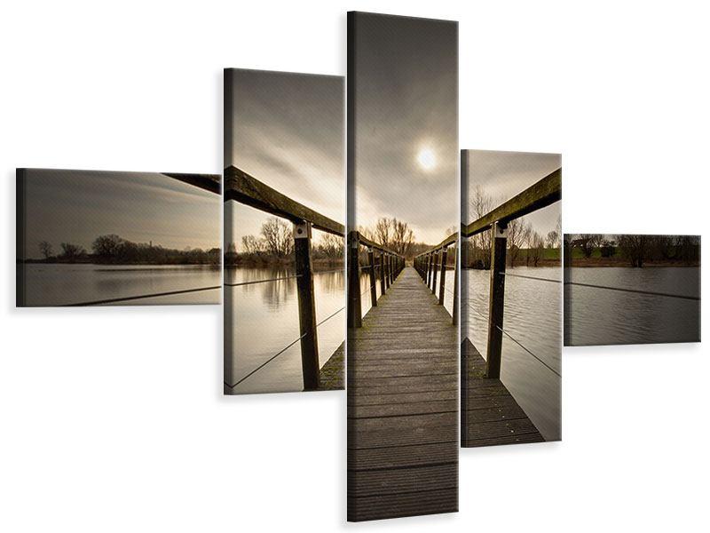 Leinwandbild 5-teilig modern Die Holzbrücke