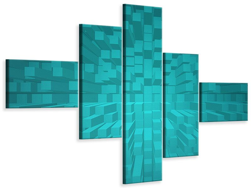 Leinwandbild 5-teilig modern 3D-Kubusse