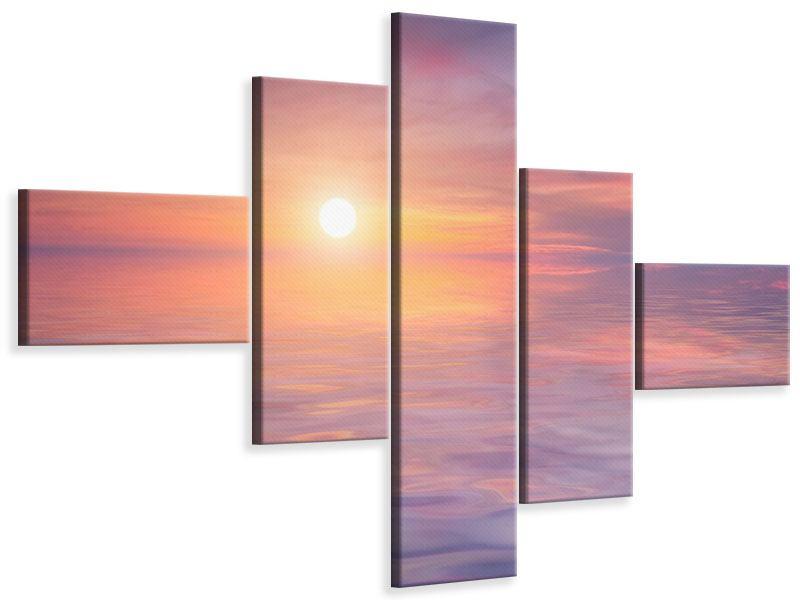 Leinwandbild 5-teilig modern Sonnenuntergang auf See