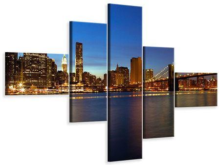 Leinwandbild 5-teilig modern Skyline Manhattan im Lichtermeer