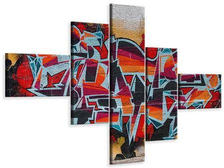 Leinwandbild 5-teilig modern New York Graffiti