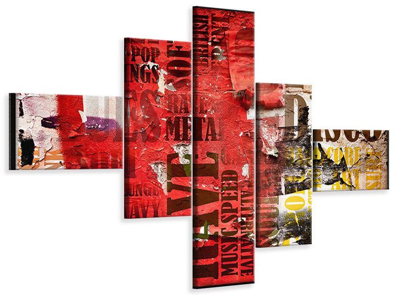Leinwandbild 5-teilig modern Musiktext im Grungestil
