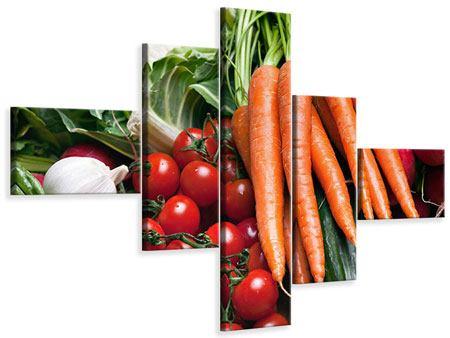 Leinwandbild 5-teilig modern Gemüse