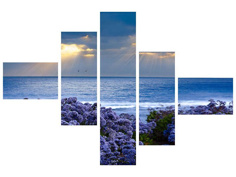 Leinwandbild 5-teilig modern Der Lavendel und das Meer
