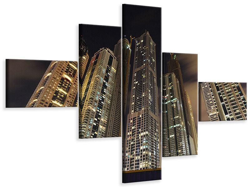 Leinwandbild 5-teilig modern Wolkenkratzer Dubai Marina