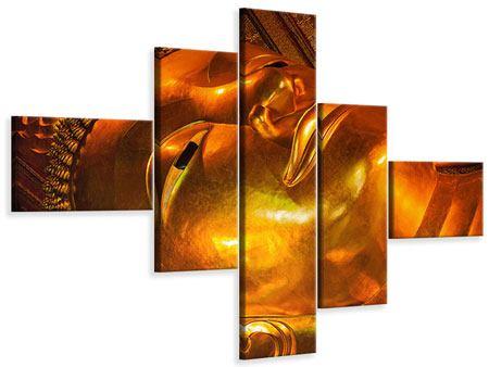 Leinwandbild 5-teilig modern Liegender Buddha