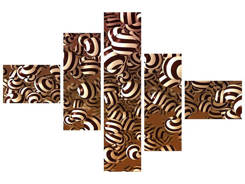 Leinwandbild 5-teilig modern Schokoladen-Bonbons