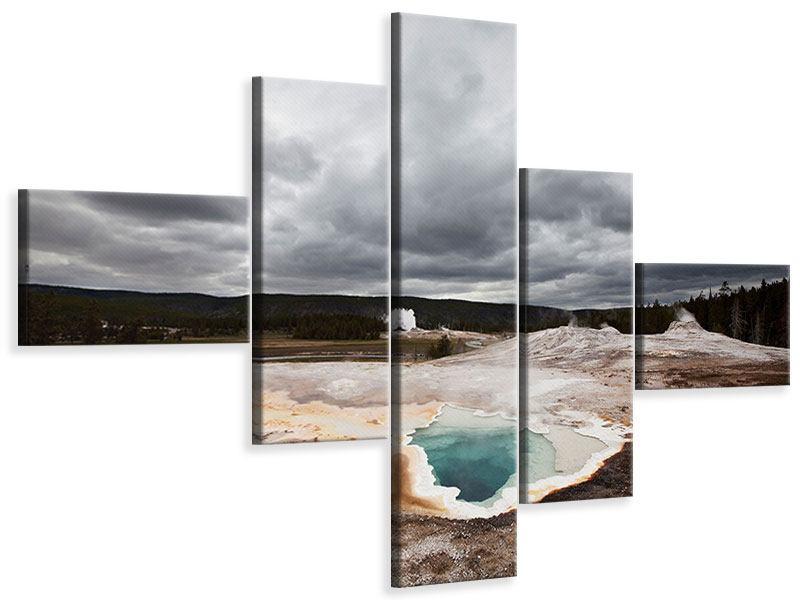 Leinwandbild 5-teilig modern Vulkan