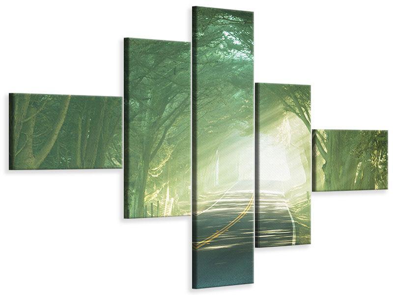 Leinwandbild 5-teilig modern Die Allee