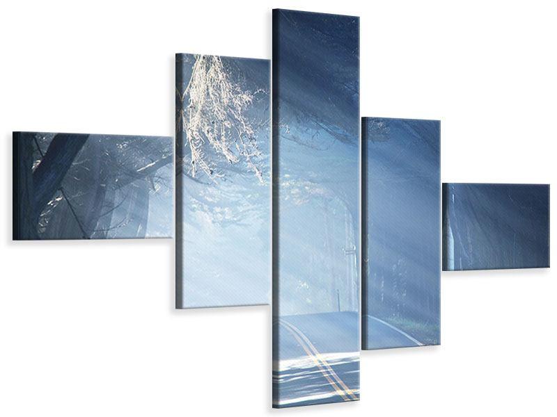Leinwandbild 5-teilig modern Lichtdurchflutete Baumallee