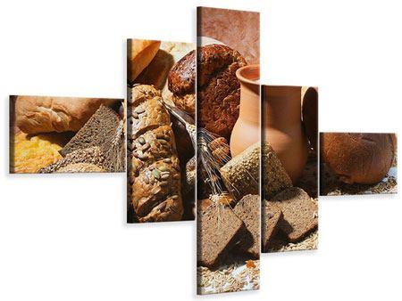 Leinwandbild 5-teilig modern Frühstücksbrote