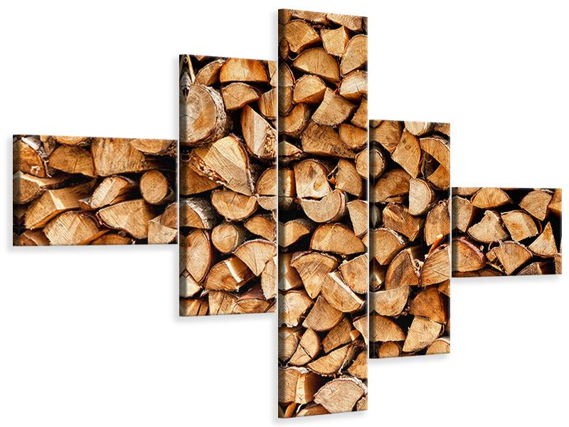 Leinwandbild 5-teilig modern Gestapeltes Holz