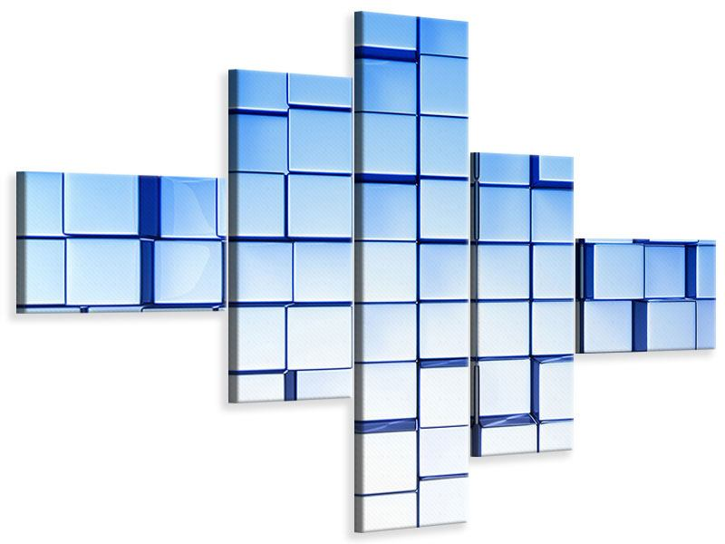 Leinwandbild 5-teilig modern 3D-Symetrie