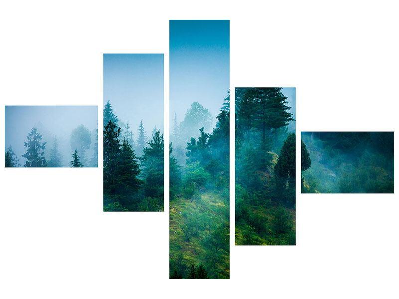 Leinwandbild 5-teilig modern Geheimnisvoller Wald