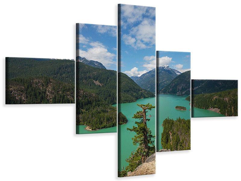 Leinwandbild 5-teilig modern Diablo Bergsee