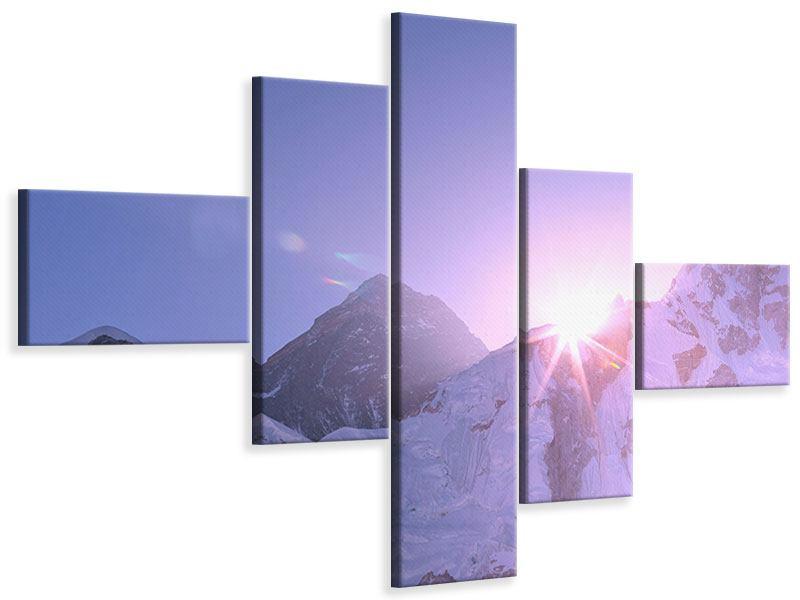 Leinwandbild 5-teilig modern Sonnenaufgang beim Mount Everest
