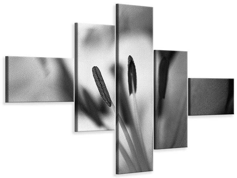 Leinwandbild 5-teilig modern Makro Lilienblatt