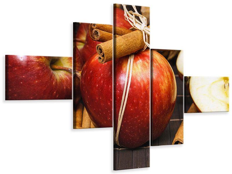 Leinwandbild 5-teilig modern Äpfel