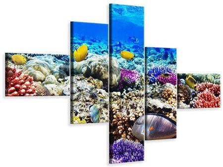 Leinwandbild 5-teilig modern Fischaquarium