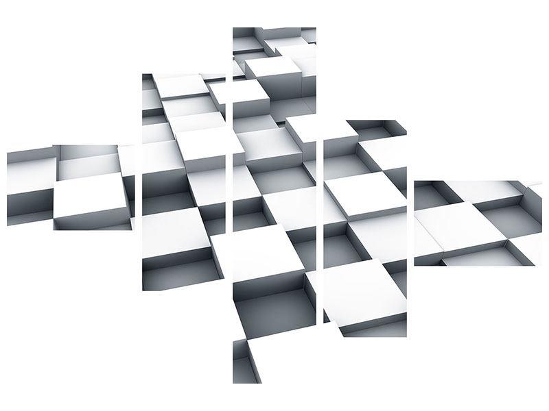 Leinwandbild 5-teilig modern 3D-Kubus