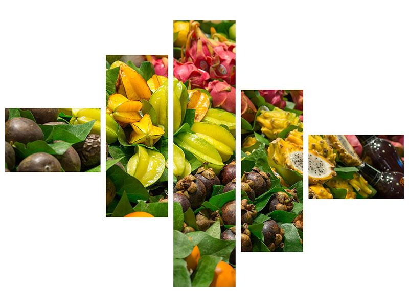 Leinwandbild 5-teilig modern Früchte