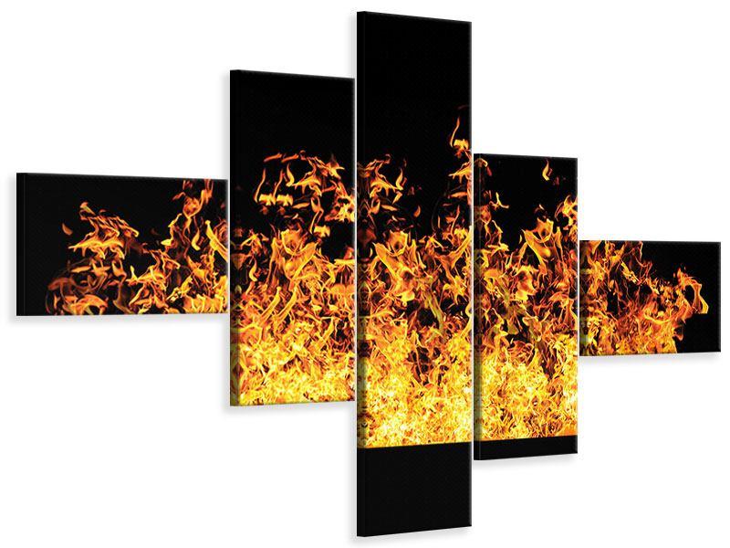 Leinwandbild 5-teilig modern Moderne Feuerwand