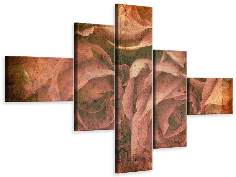 Leinwandbild 5-teilig modern Rosenbukett
