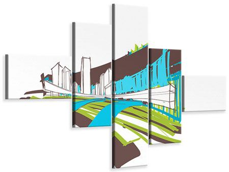 Leinwandbild 5-teilig modern Graffiti Street-Art