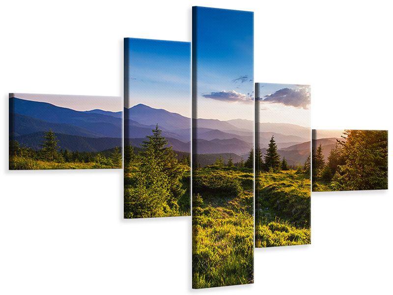 Leinwandbild 5-teilig modern Friedliche Landschaft
