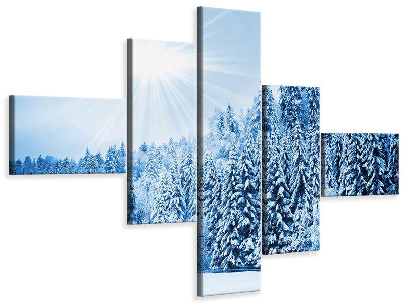 Leinwandbild 5-teilig modern Wintermärchen