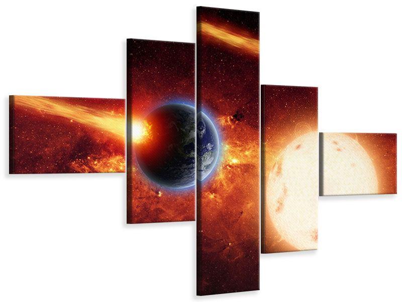 Leinwandbild 5-teilig modern Der Kosmos